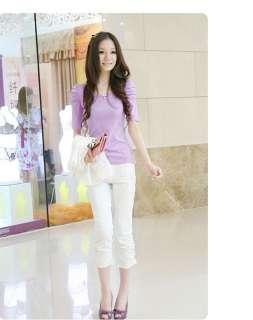 Korea Women 3/4 Puff Sleeve T Shirts Cotton White Tops