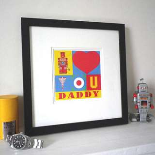personalised i love you framed print by glyn west design