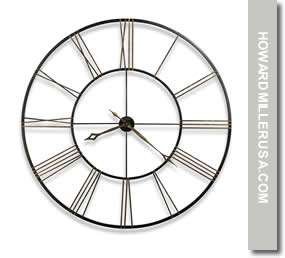 625 406 Howard Miller 49 Large black wrought iron wall clock, Quartz