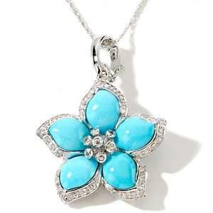 Heritage Gems .28ct Sleeping Beauty Turquoise and White Sapphire 14K