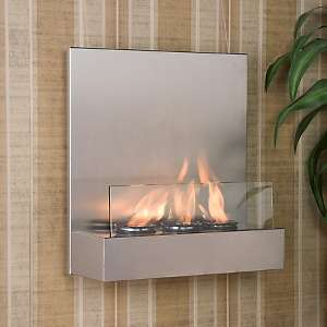 Satin Stainless and Glass Wall Mount Fireplace
