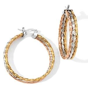 Stately Steel Rope Design Tri Color Triple Hoop Earrings at HSN