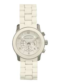 White Unisex Chronograph Watch by Michael Kors Watches   White   Buy