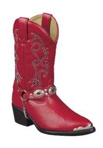 New Girls Dingo Red Cowboy Boots with Harness Strap