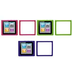 Cases (Hot Pink, Neon Green, Purple) for Apple iPod Nano 6th Gen