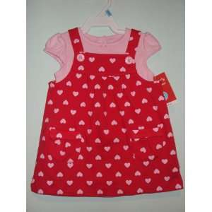 Girls 2 piece S/S Cotton Knit Jumper Set Pink Hearts 6 Months Baby