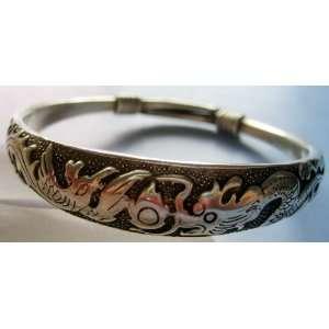 Tibetan Silver Dragon Phoenix Love Bangle Bracelet