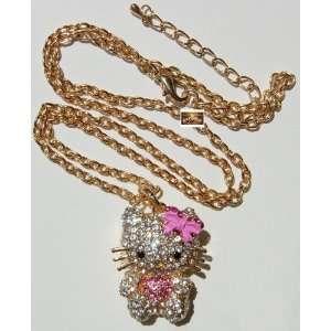 Pink Bow HELLOKITTY GOLD RHINESTONE PENDANT NECKLACE