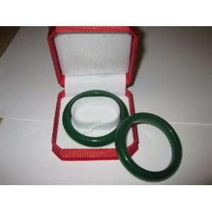 Translucent Soft Dark Green Jade Bangle with Gift Box