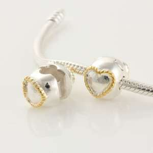 925 Sterling Silver Heart Shape 18k Gold Plated Clip Stopper Charms