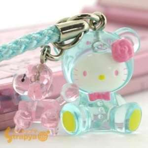 Hello Kitty Candy Bear with Poodle Netsuke Cell Phone Charm (Blue