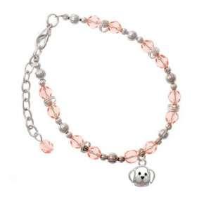 Small Outline Dog Face Pink Czech Glass Beaded Charm Bracelet [Jewelry