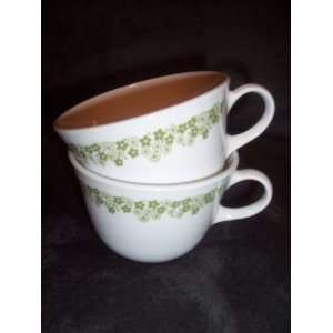 Set of 2 Vintage Corelle Spring Blossom Green Cups / Mugs
