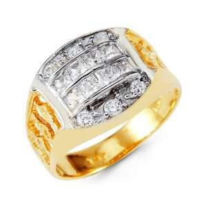 Mens 14k Yellow White Gold Princess Round CZ Crown Ring Jewelry