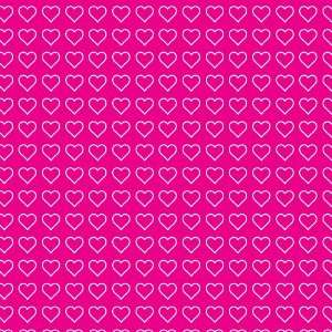 Hearts Pattern #2 Pink & White 12x12 Stickers x3 Great