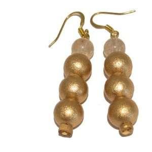 Earrings 18 Gold Wood Clear Crystal Healing Stone Dangle 2.3 Jewelry