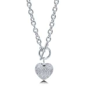 Cubic Zirconia CZ Silver Tone Puffed Heart Toggle Pendant Necklace