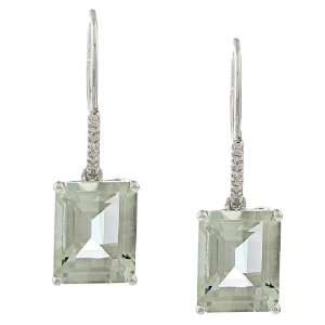White Gold Emerald Cut Green Amethyst and Diamond Earrings Jewelry