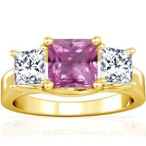 14K Yellow Gold Princess Cut Pink Sapphire Three Stone Ring Jewelry