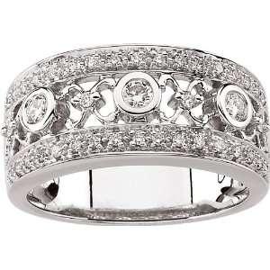 14 Karat White Gold Diamond X O Band Ring Diamond Designs