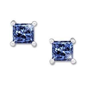 White Gold Stud Earrings with Blue Diamond 1/2 carat each Princess cut