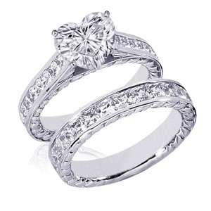 4 Ct Heart Shaped Diamond Wedding Rings Set 14K SI3