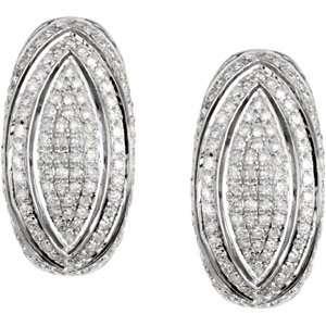 Pair 1 1/6 CT TW 14K White Gold Diamond Earrings Jewelry