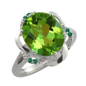 Ct Oval Envy Green Mystic Quartz and Green Diamond 18k White Gold Ring