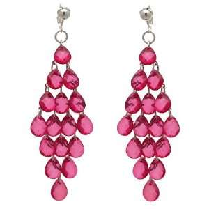 Jewelled Drops Silver Pink Crystal Clip On Earrings Jewelry