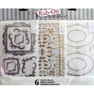 RUB ON Transfers 6 VALUE PACK w Frames, Accents, & MORE TRANSFERS