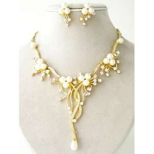 Fashion Jewelry ~ Cream Faux Pearls with Crystals Goldtone