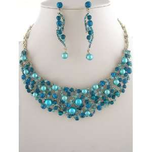 Fashion Jewelry ~Blue Faux Pearls Accented with Blue Zircon Crystals