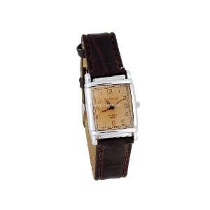 Square Dial Black Leather Strap Analog Watch Brown