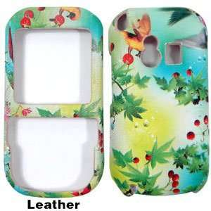 White Blue Sky with Red Cherry Fruits Design Leather