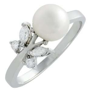 Sterling Silver Cubic Zirconia Butterfly Faux Pearl Ring Jewelry