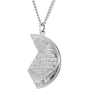 Genuine IceCarats Designer Jewelry Gift 14K White Gold Mizpah Coin