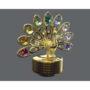 24k Gold Plated Swarovski Crystal Figurine   Peacock