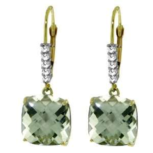 14k Solid Gold Green Amethyst Leverback Earrings Jewelry