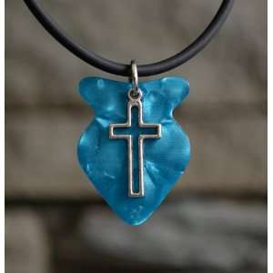 Fish Shape Guitar Pick Necklace with Cross Charm Pendant