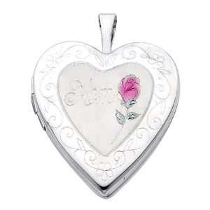 14K White Gold Flower Enamel Engraved Heart Mom Locket Pendant (0.8