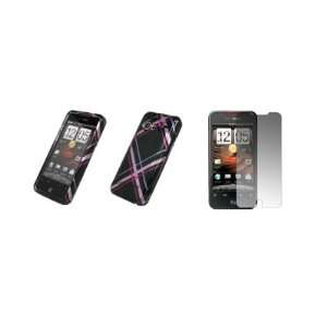 HTC Droid Incredible   Premium Pink and Black Plaid Design