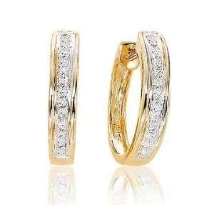 1/4 Carat Diamond 14k Yellow Gold Huggie Earrings Jewelry