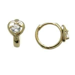 Cubic Zirconia Heart 14K Yellow Gold Huggie Earrings Jewelry