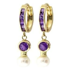 Dangle Round Amethyst & Pearl 14k Gold Hoop Huggie Earrings Jewelry