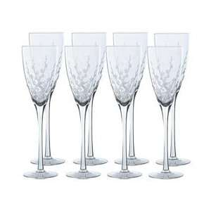 Mikasa Cherry Blossom Crystal Champagne Flutes, Set of 8