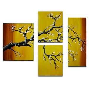 Japanese Black Branch Blossom 4 Piece Canvas Art Set