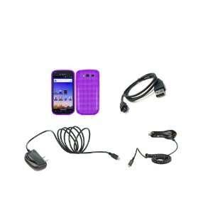 4G (T Mobile) Premium Combo Pack  Purple Checkered TPU Case Cover