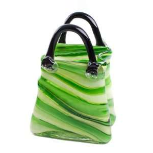 Glass Ware Green Monaco Handbag Large Vase 19cm New