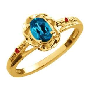 57 Ct Oval London Blue Topaz Red Rhodolite Garnet 18K Yellow Gold Ring