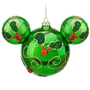 Disney World Mickey Mouse Head Icon Green Holly Ornament Christmas